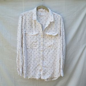 Gap Boyfriend Fit Utility White Button Down Blouse